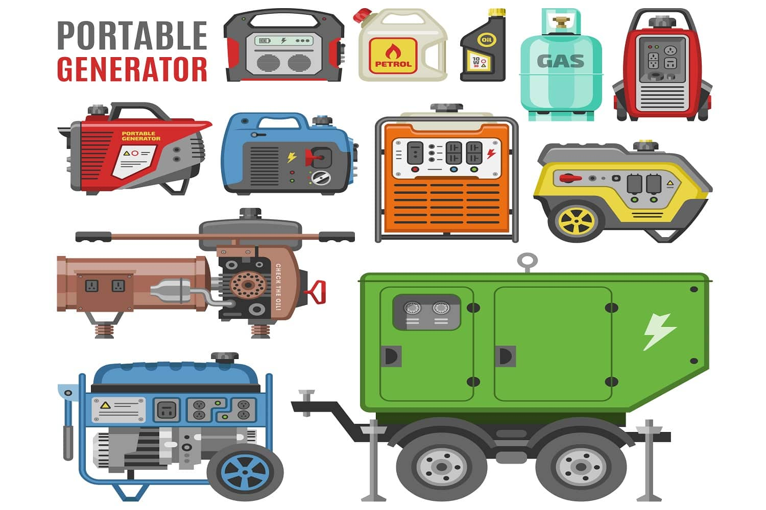 Generator vector power generating portable diesel fuel energy industrial electrical engine equipment illustration set of electric gas industry isolated on white background.