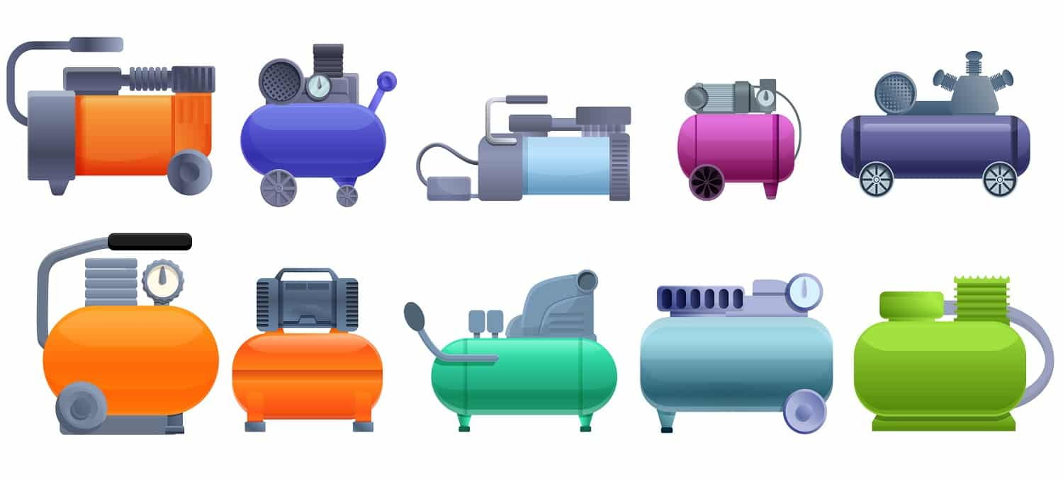 Air compressor icons set. Cartoon set of air compressor vector icons for web design
