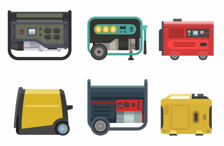 Generator vector power generating portable gasoline petrol fuel energy industrial electrical engine equipment illustration set of diesel industry isolated on white background.