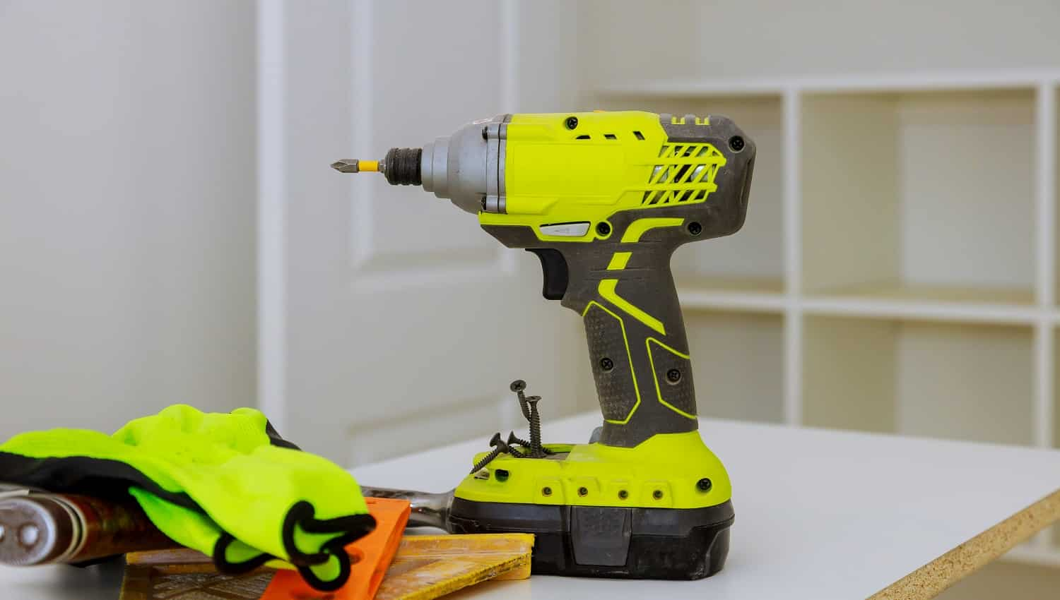 A set of construction tools cordless screwdriver drill work tool