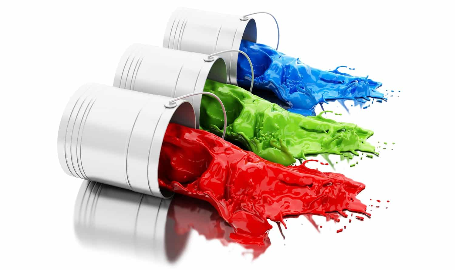 3d illustration. Colorful paint splashing out of cans. Isolated white background