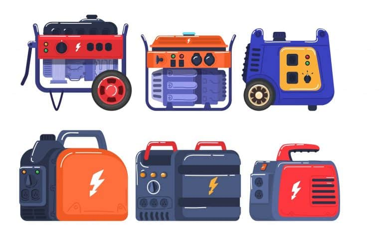 Generators set of energy generating portable electrical equipment, machines petrol fuel industrial engine isolated vector illustration. Diesel industry industrial and home immovable power generator.