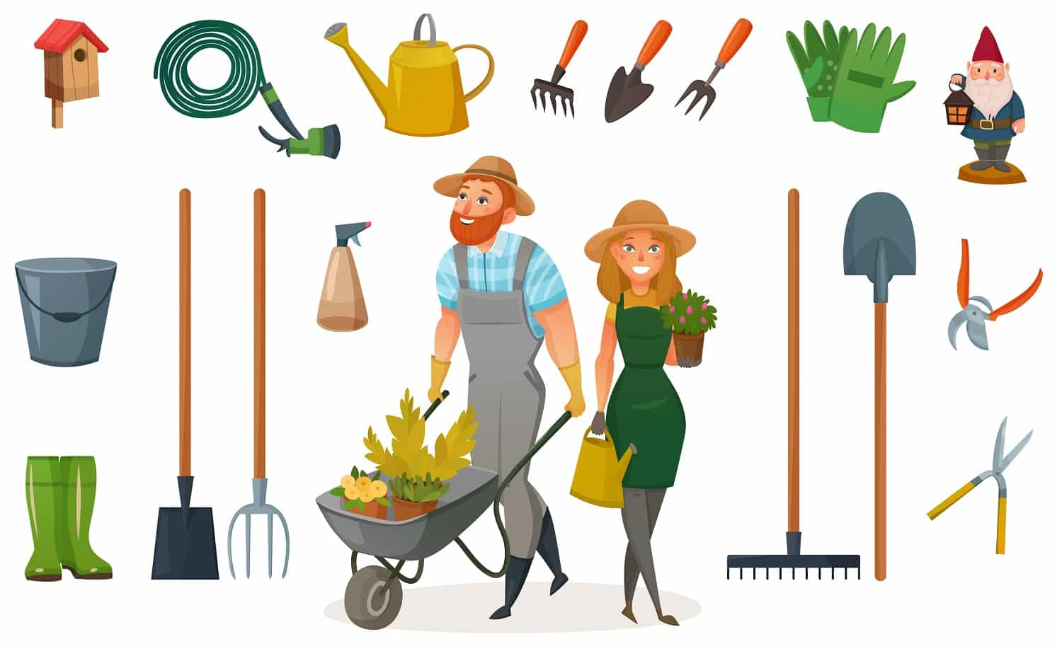 Gardening cartoon icon set with attributes and elements for work in garden vector illustration