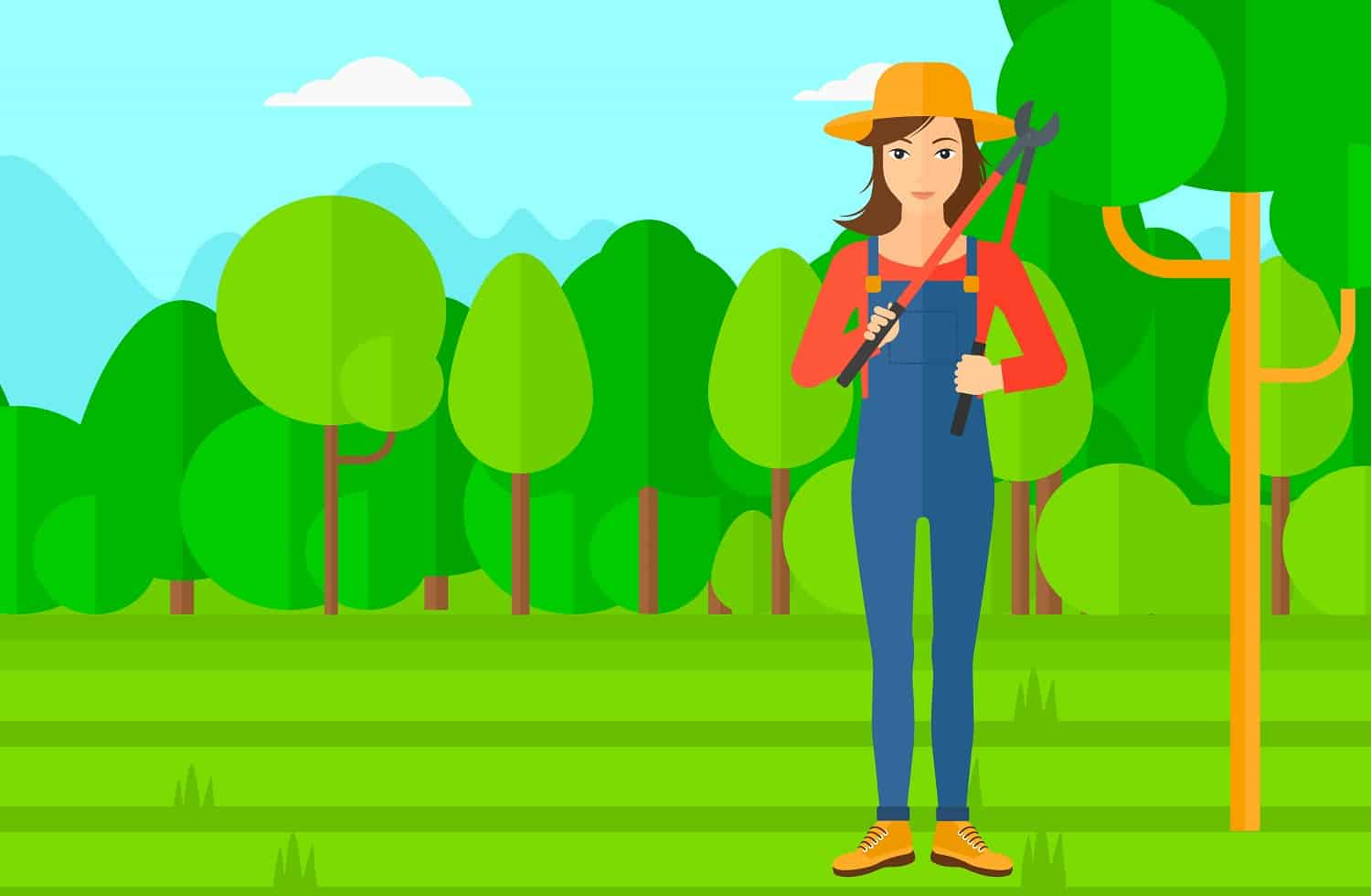 A woman holding a pruner on a background of garden with trees vector flat design illustration. Horizontal layout.