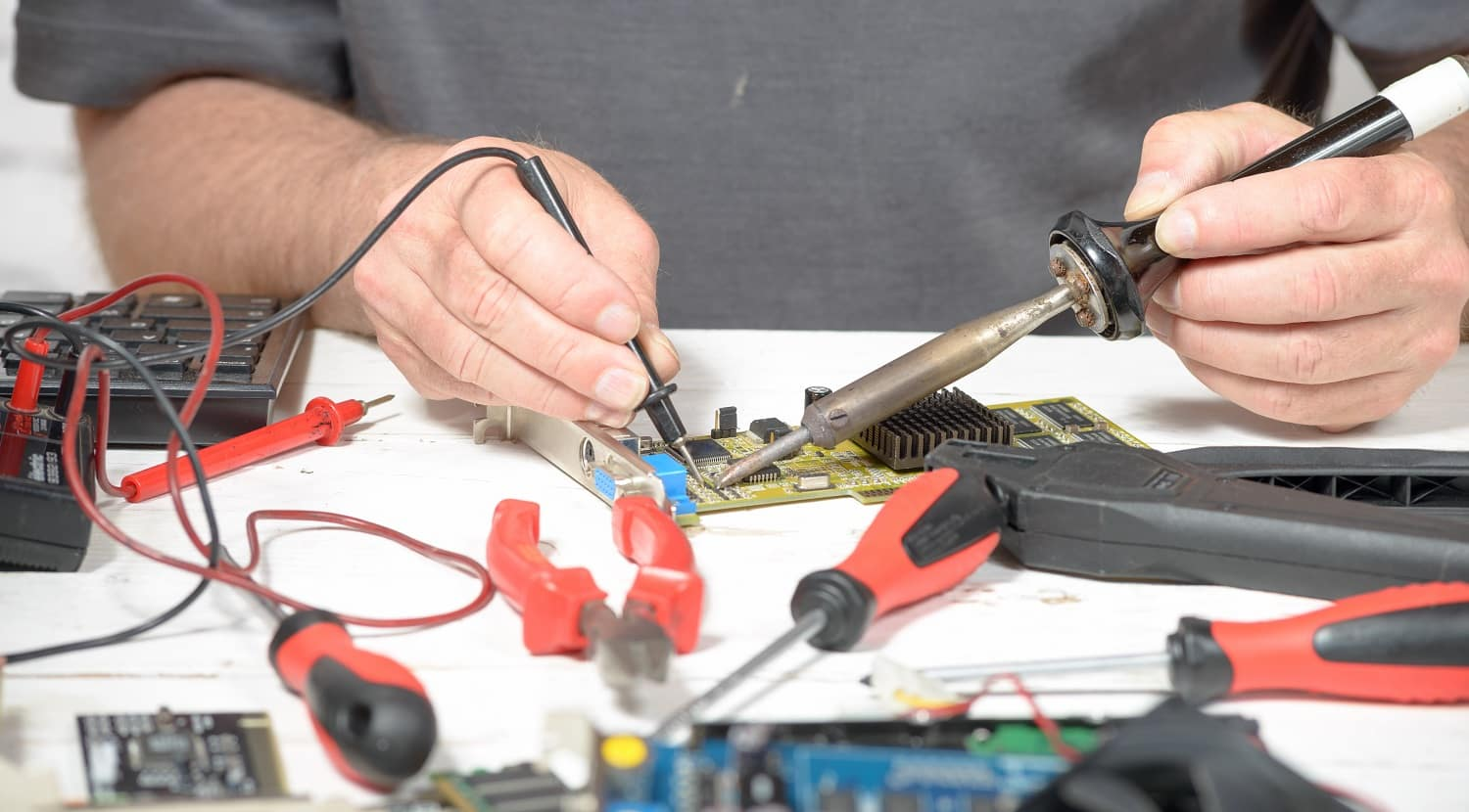 close-up of Soldering work in the computer