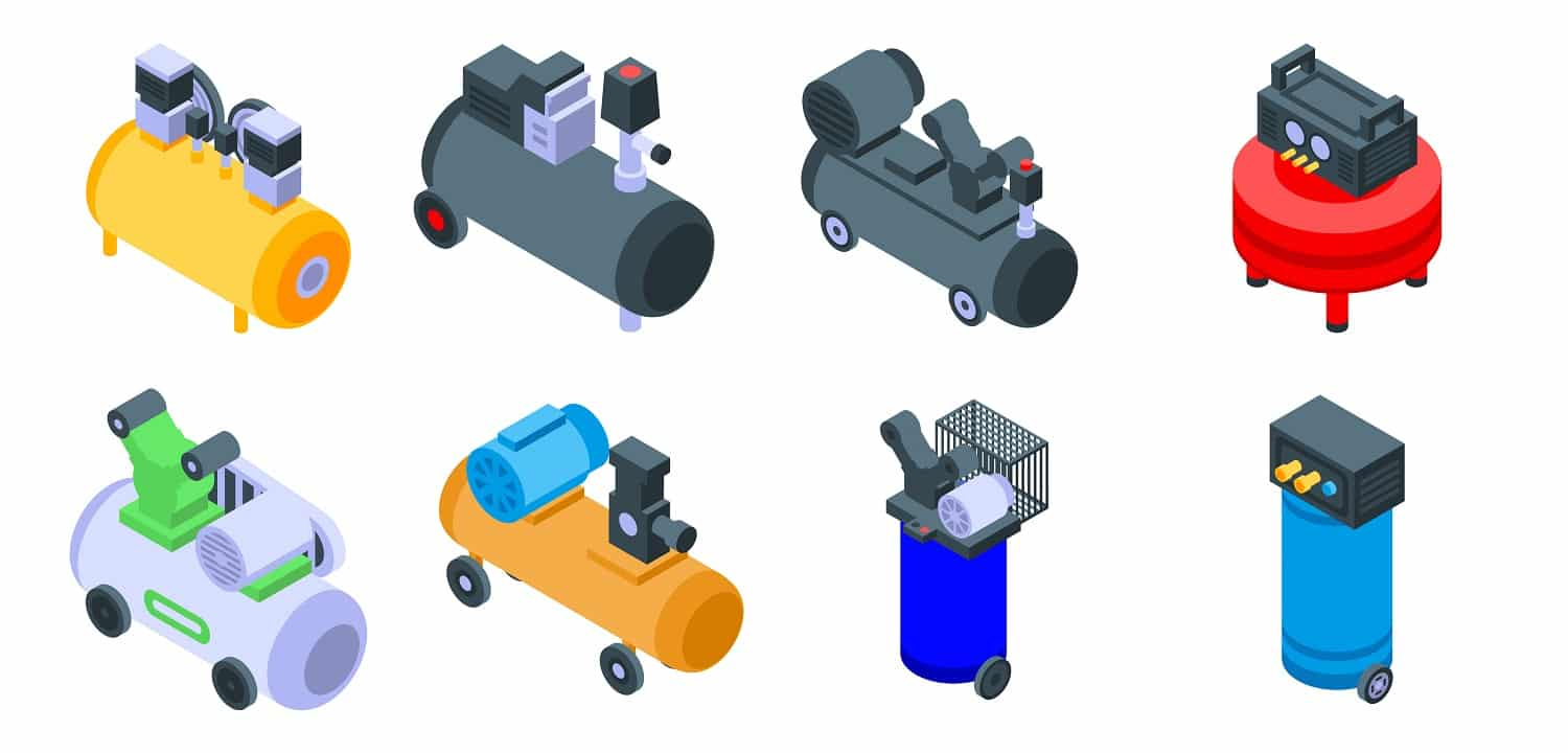 Air compressor icons set. Isometric set of air compressor vector icons for web design isolated on white background