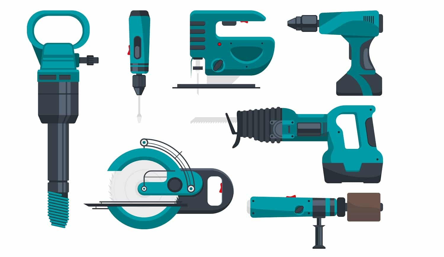 Construction electro tools for repair. Vector pictures in flat style. Screwdriver and equipment drill and power saw electric illustration