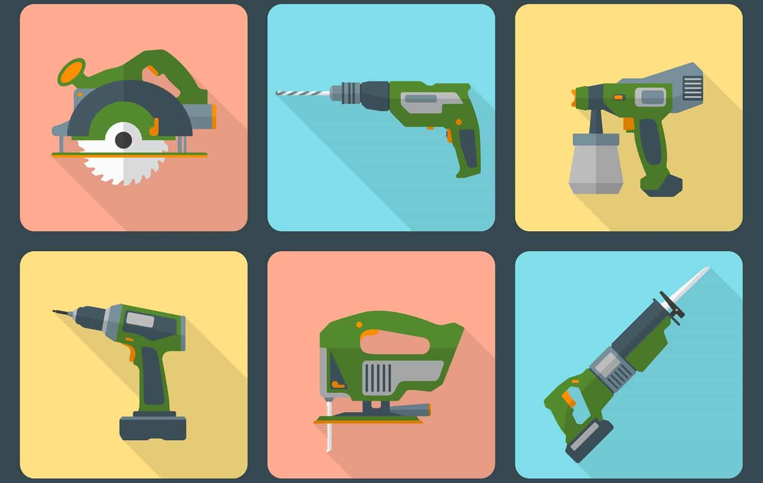 vector house repair electric devices flat style icons with shadow