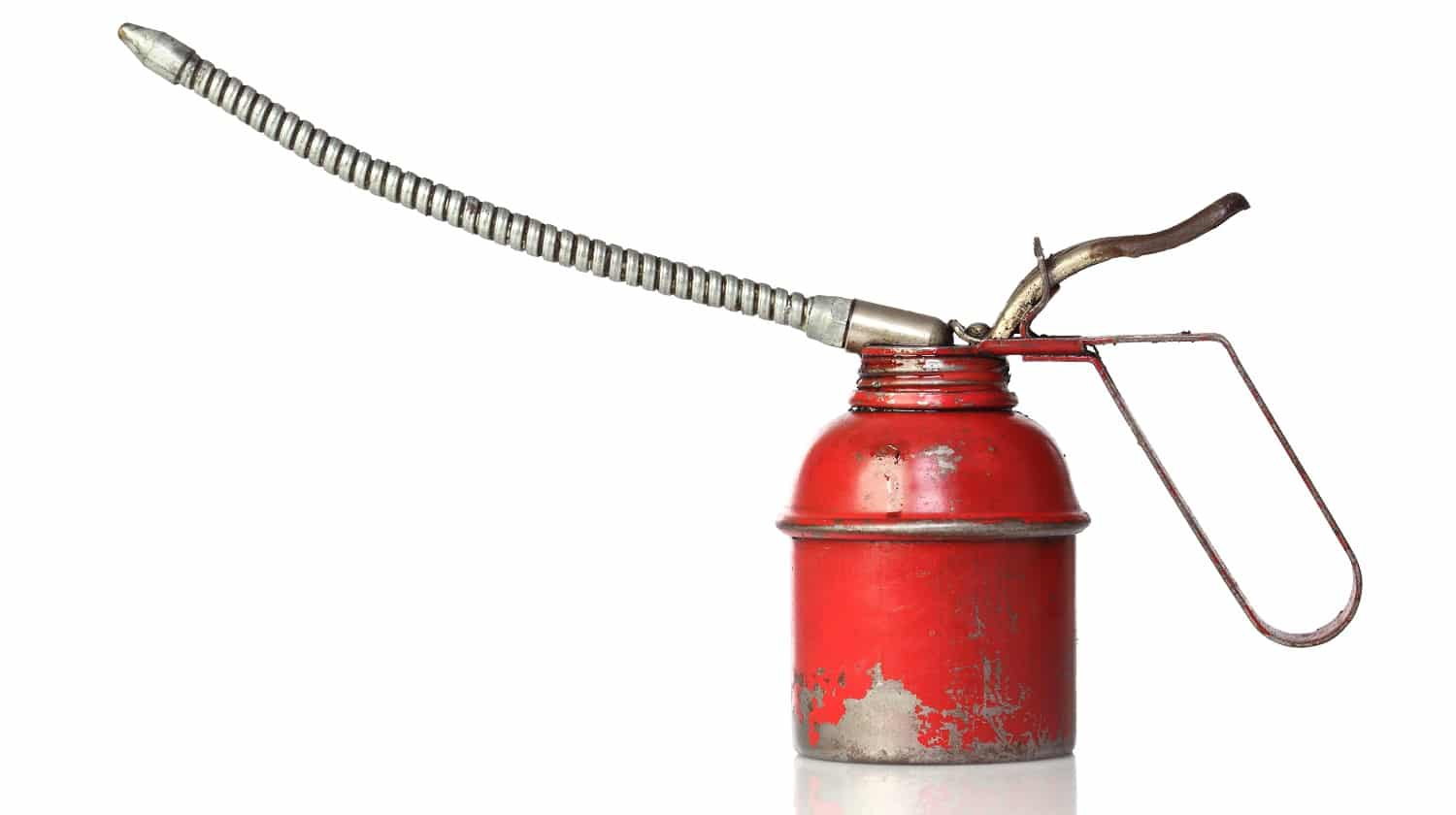 closeup image of classic red oiler on white background