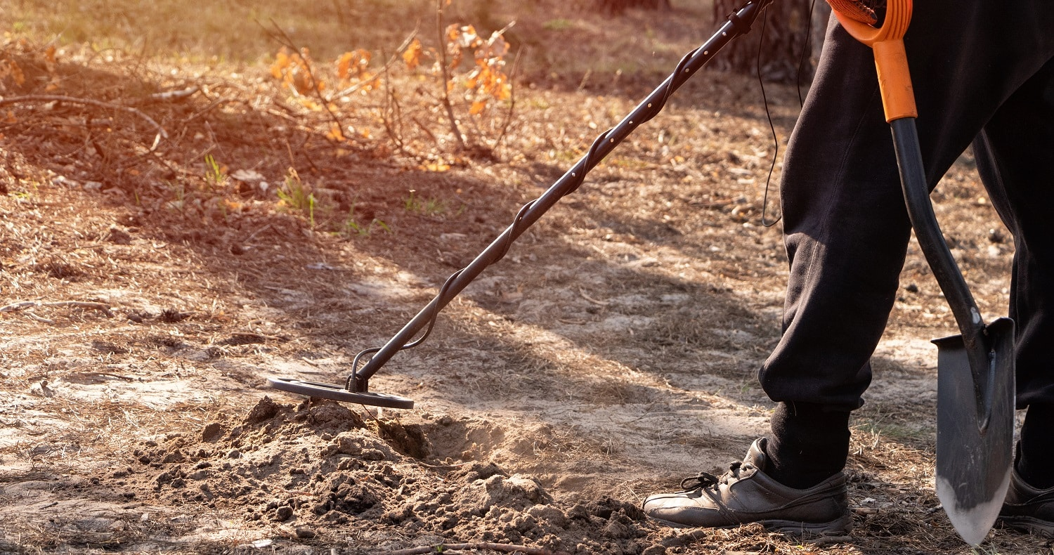 A man scans a dug hole in the forest with a metal detector and a shovel in his hands