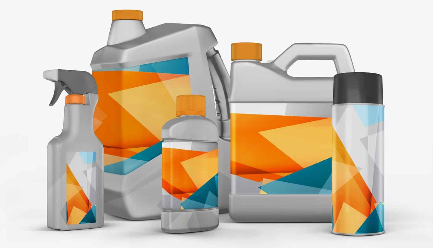 3D render cans of motor oil on a white background eps