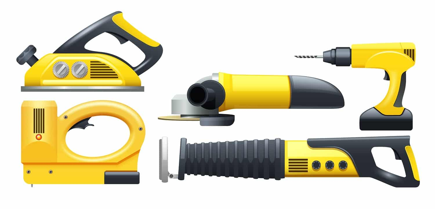 Electric power construction worker tools flat pictograms set in black and yellow abstract isolated vector illustration