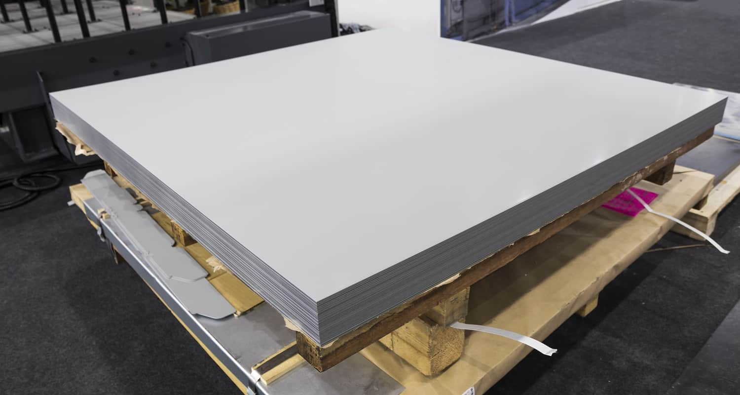 Stack of steel sheets ; ready to use ; stock ; for laser cutting