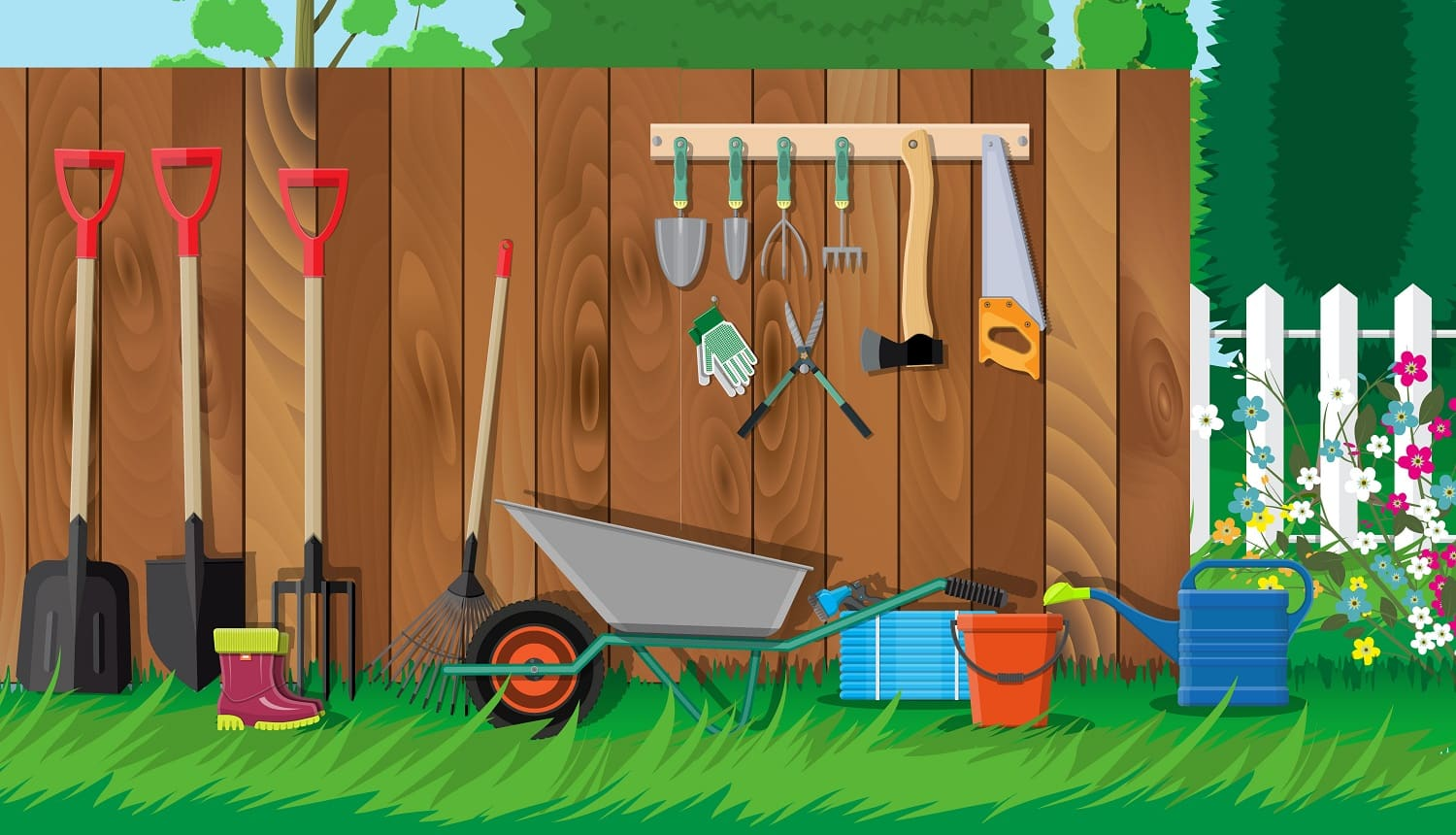 Gardening tools set. Equipment for garden. Saw bucket ax wheelbarrow hose rake can shovel secateurs gloves boots. Wooden fence, flower, grass, tree, sky, cloud. Vector illustration in flat style