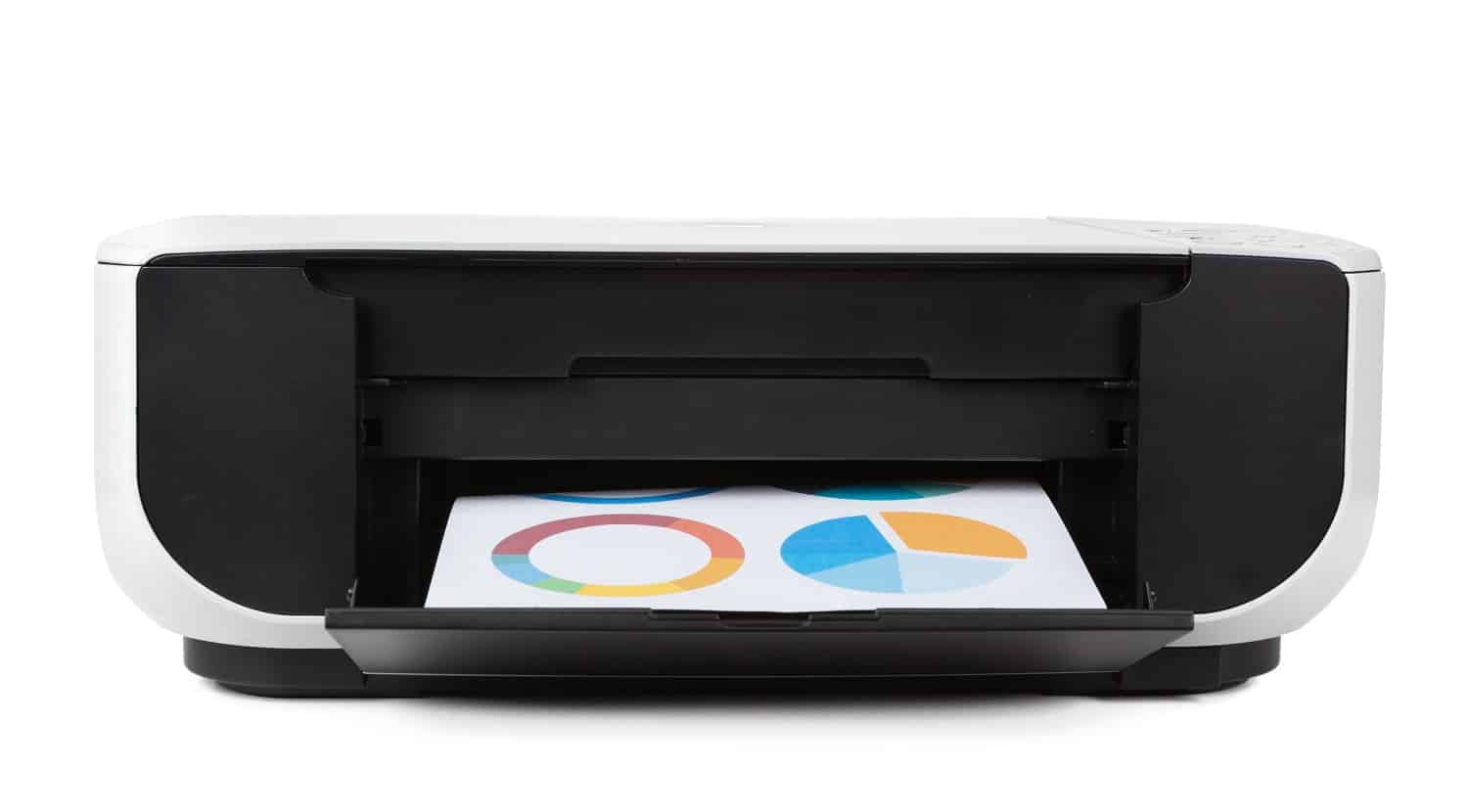 Black multi function printer isolated against a white background