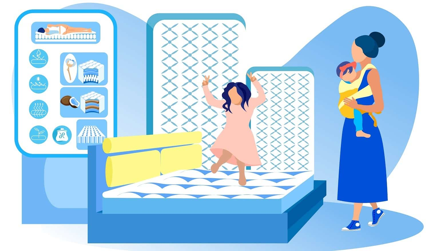 Young Mother with Two Little Girls, Toddler and Sling Baby, Looking about Mattress Store. Kid, Jumping on Bed in Showroom. Infomercial Graphics about Orthopedic Cotton and Coir Fiber Filling Samples.