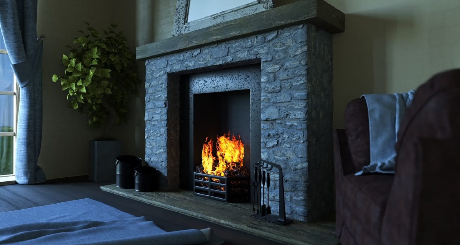 3D render of a lounge interior with roaring fire in fireplace