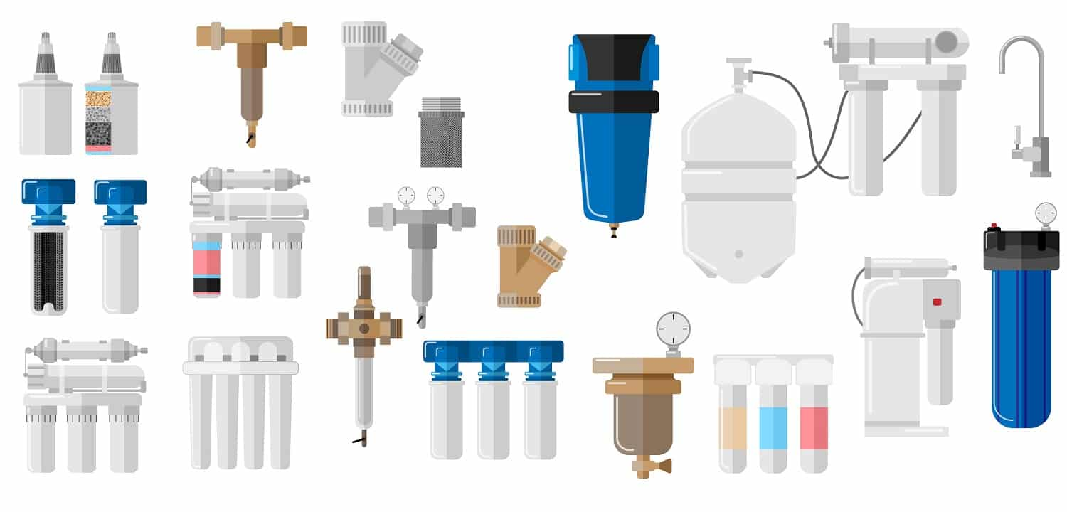 Kit water filter on white background in flat style. Set equipment for processes with special modern technologies water purification vector illustration design