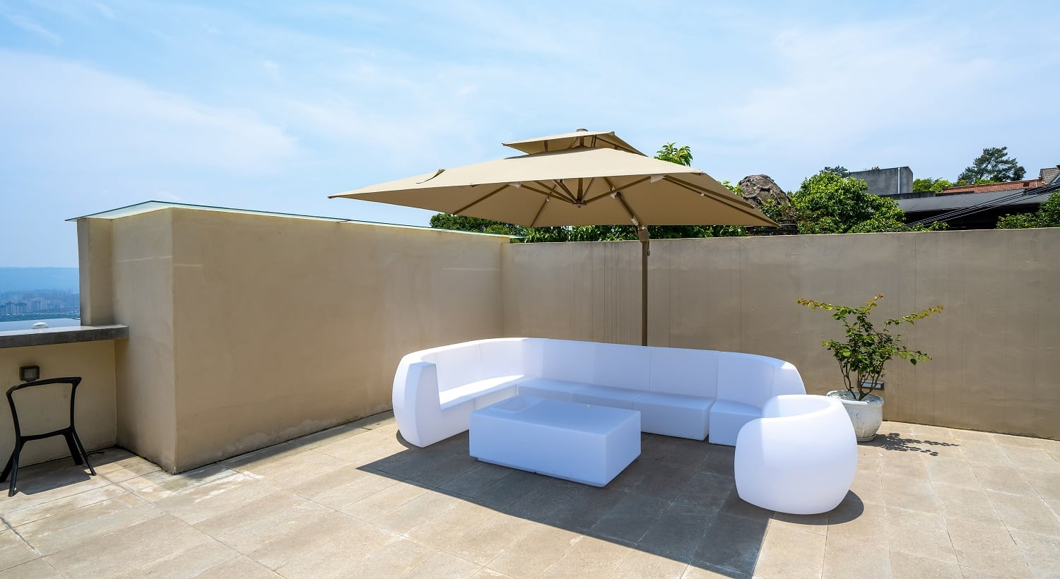 White sofa on the roof of holiday villa