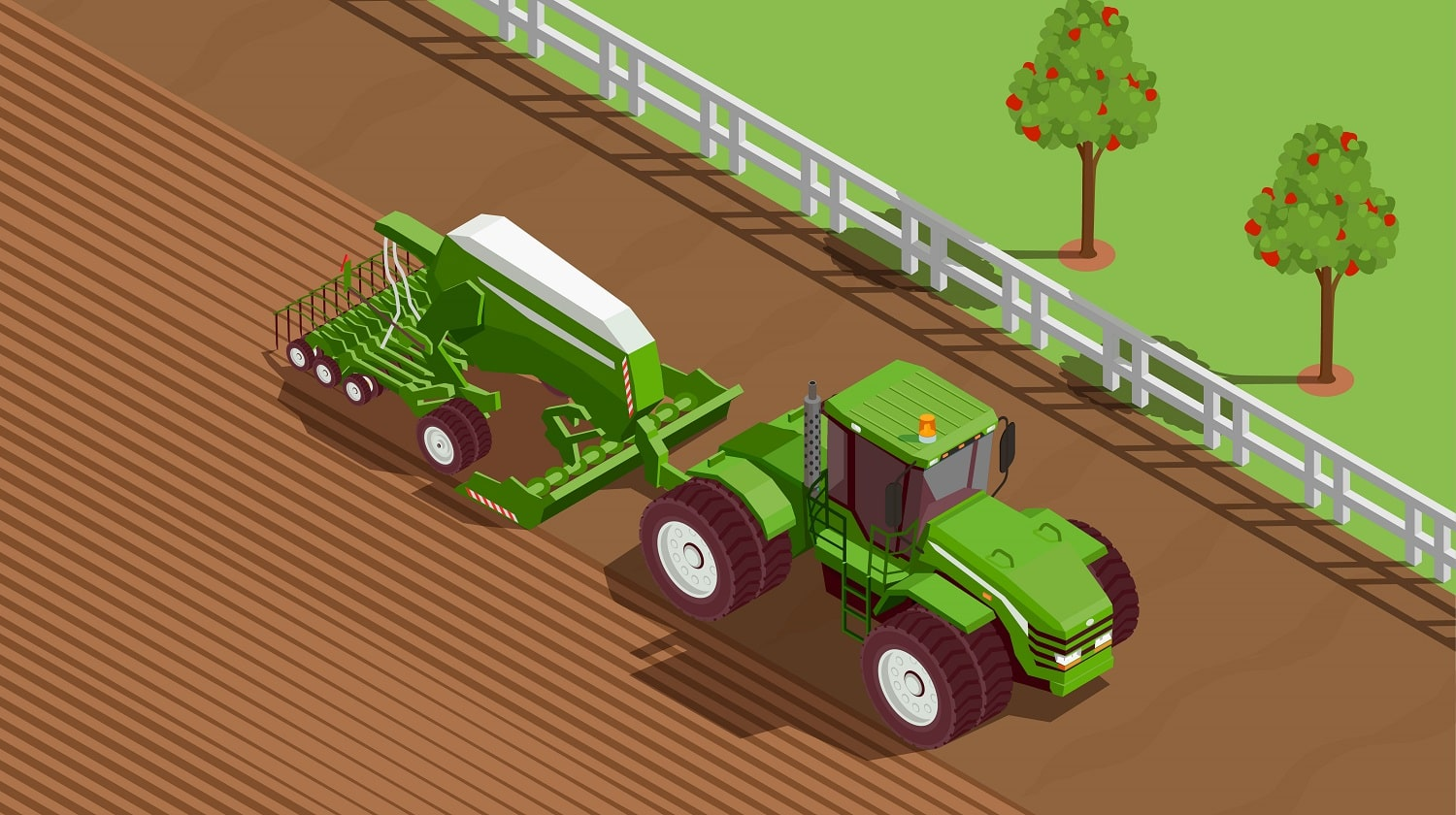 Agricultural machines isometric background with plough and soil symbols vector illustration