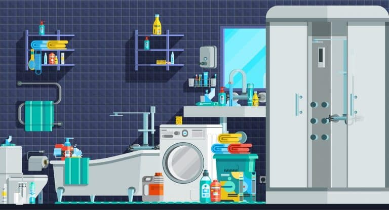 Hygiene icons orthogonal flat composition with shower cabin bath sink washing machine toiletries vector illustration