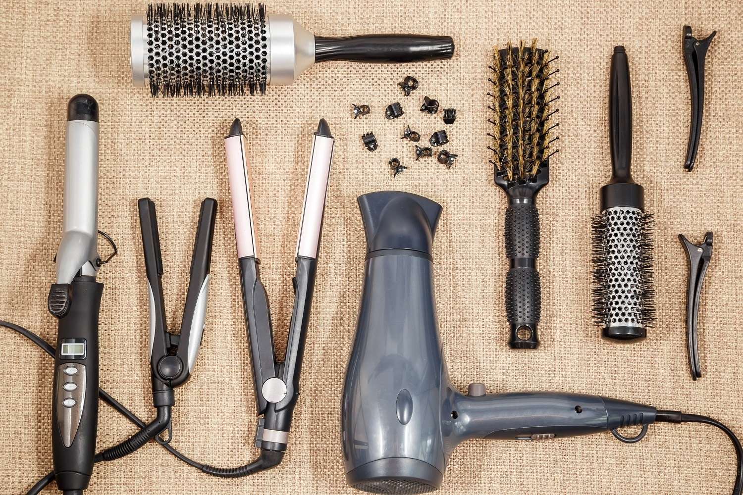 Professional equipment hairdressing - beauty salon and a hairdresser top view.