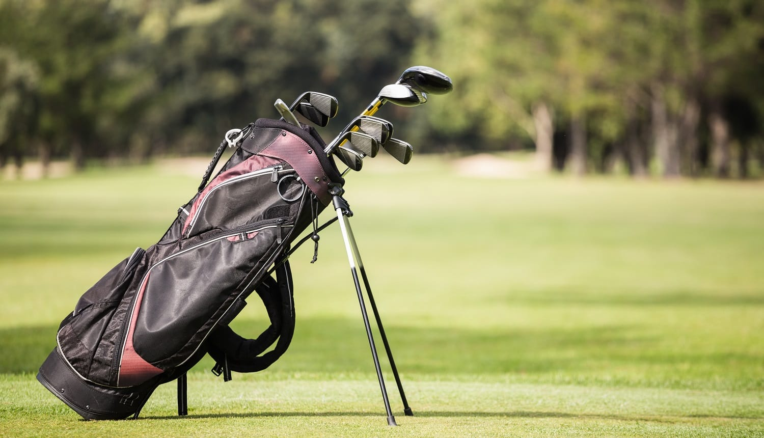 Filled golf bag with golf club on the field