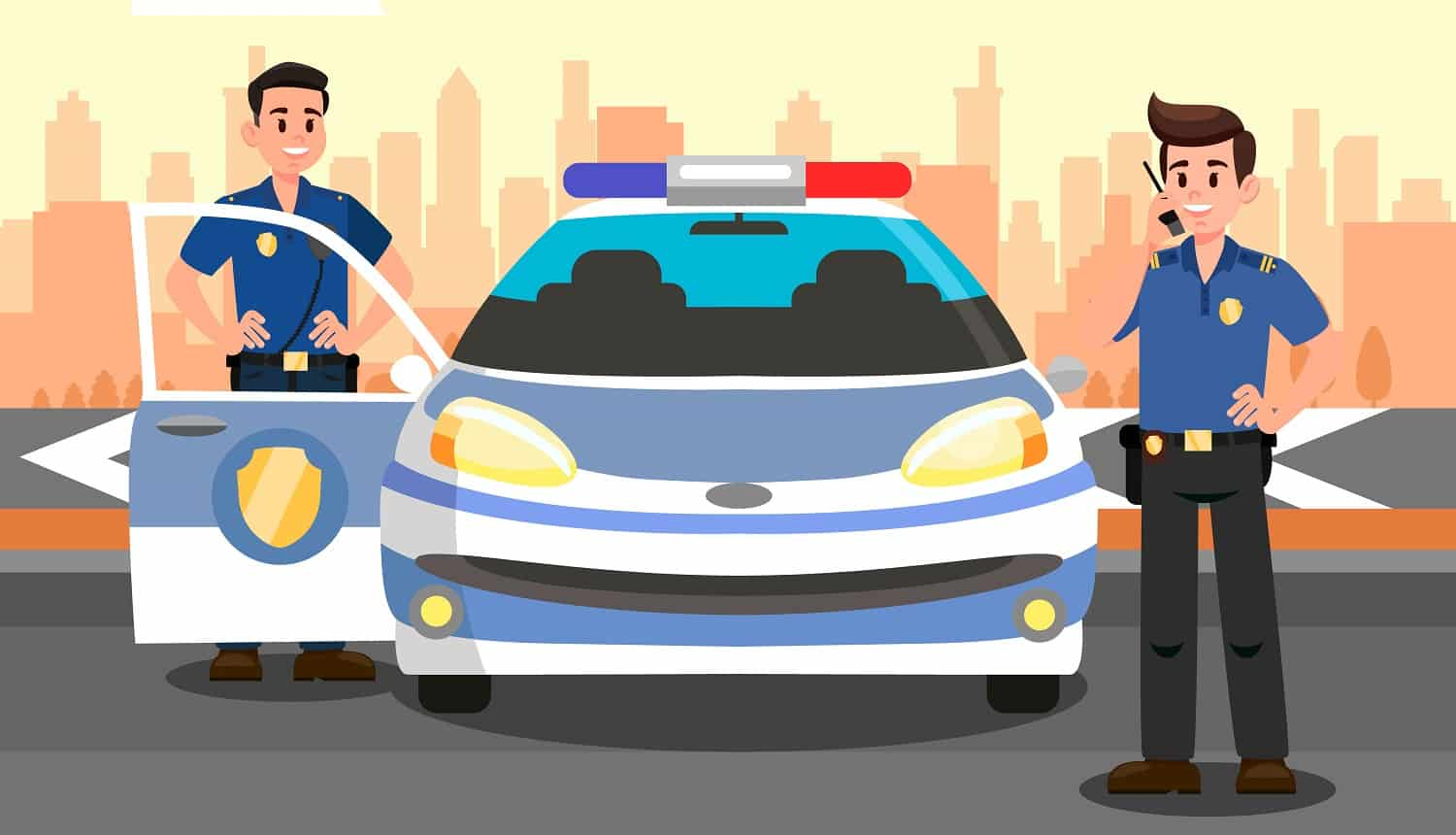 Police Officers and Car Flat Vector Illustration