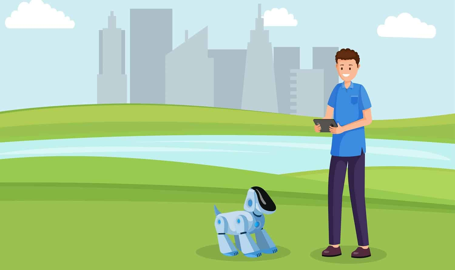 Robot dog toy flat vector illustration. Kid play with remote electronic puppy, pet outdoors cartoon character. Children futuristic entertainment, robotic friends, artificial intelligence in daily life