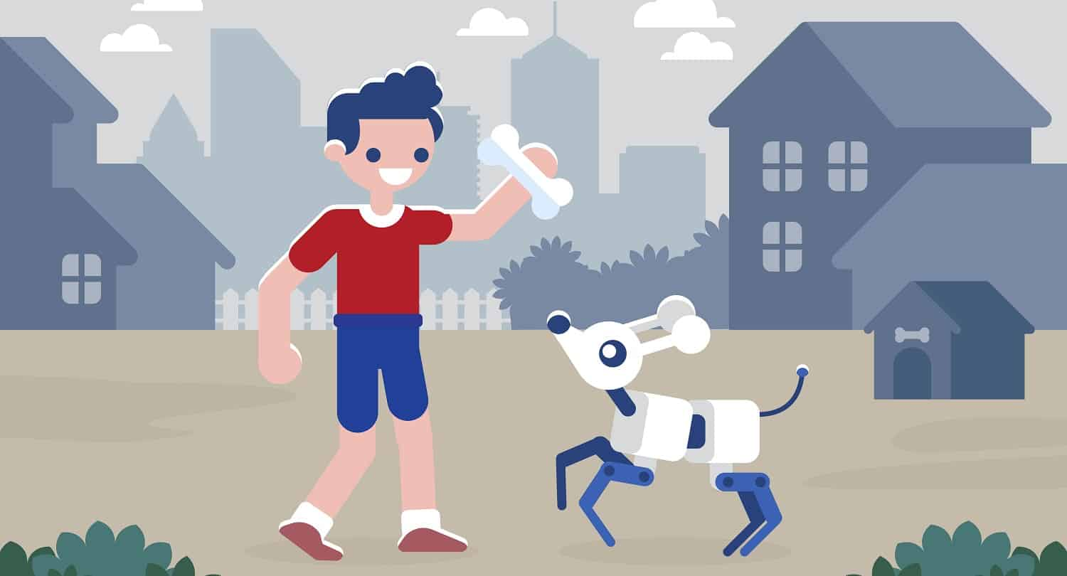 Boy playing with cyber dog Artificial intelligence concept Vector illustration
