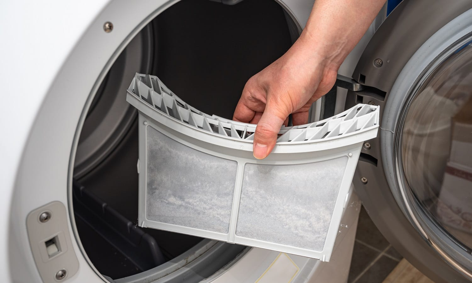 Dust and dirt trapped by the clothes dryer filter