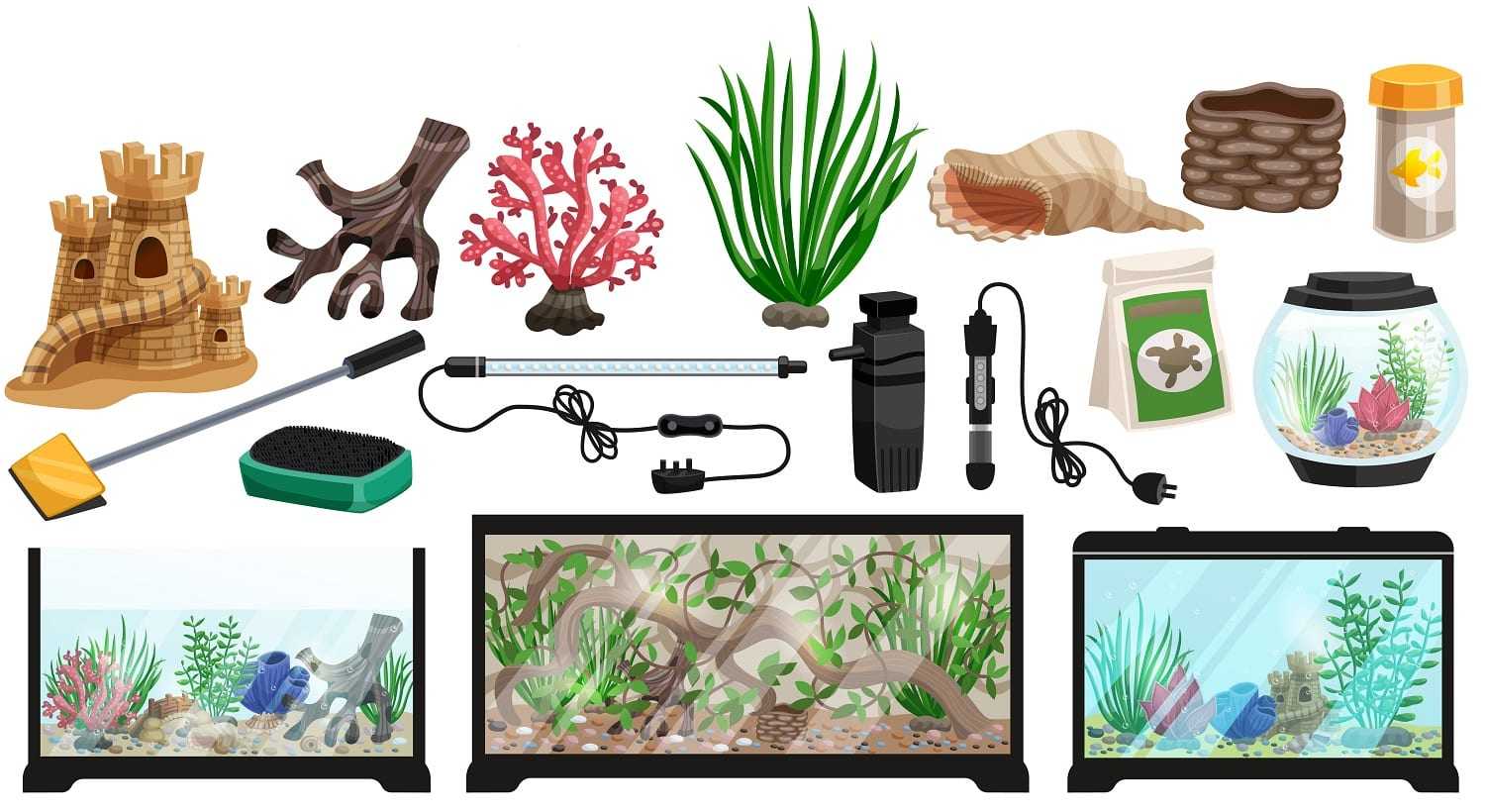 Aquarium underwater cartoon set with corals stones seaweeds seashells thermometer filter packaging food for fish vector illustration
