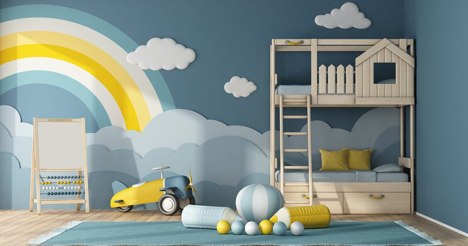 Interior of children room with bunk bed,decor objects on blue wall and toys - 3d rendering