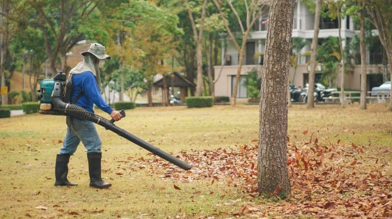 Worker cleans Autumn leaves in the park by blower machine