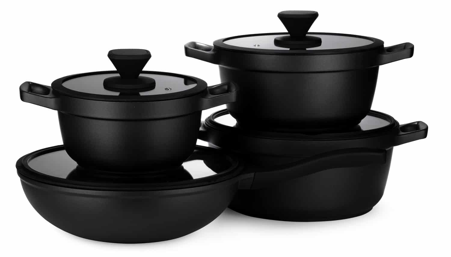 New set of black cookware isolated on white background