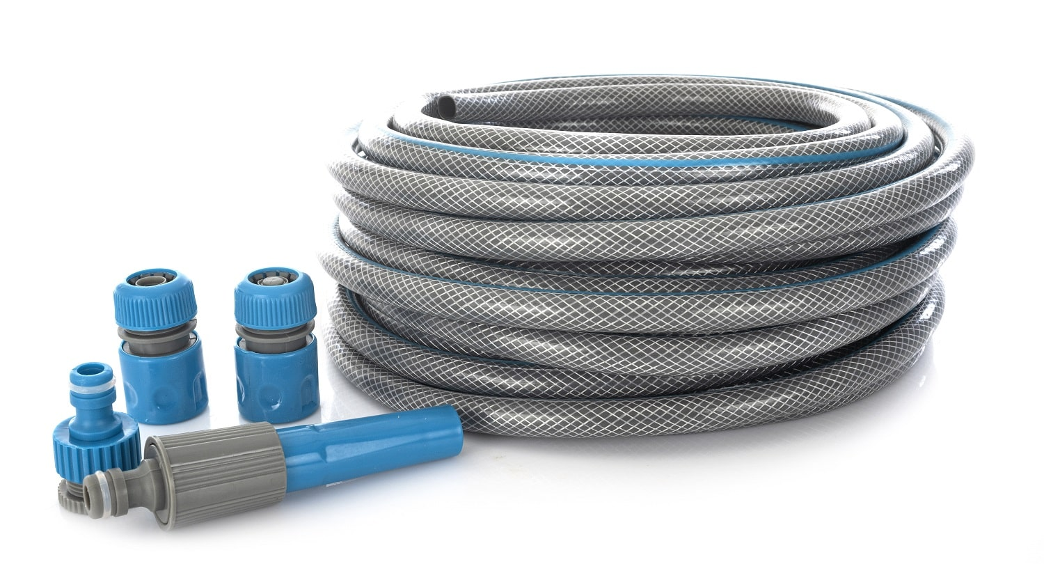 garden hose in front of white background