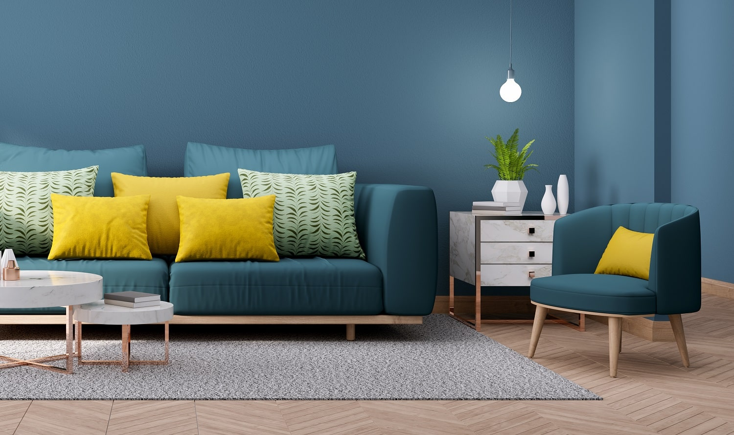 Modern Vintage interior of living room,,Blueprint home decor concept ,green couch with marble table on blue wall and Hardwood Flooring ,3d render