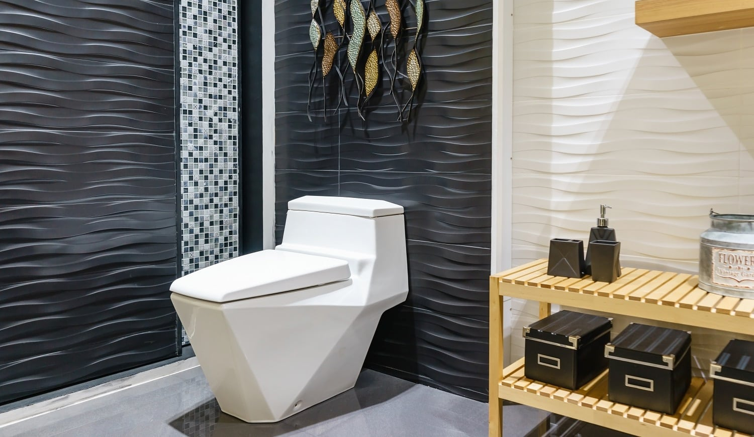 White urinal and washbasin and shower in granite bathroom, Modern house bathroom interior, luxury bathroom