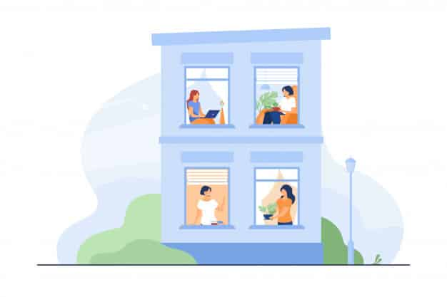 building exterior with open windows people 74855 6268