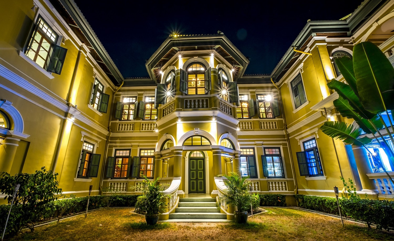 colonial style house in night scene