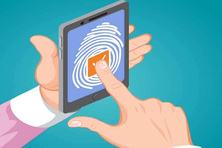 Cyber security background with man holding smartphone in his hands and unlocking it with fingerprint button isometric vector illustration