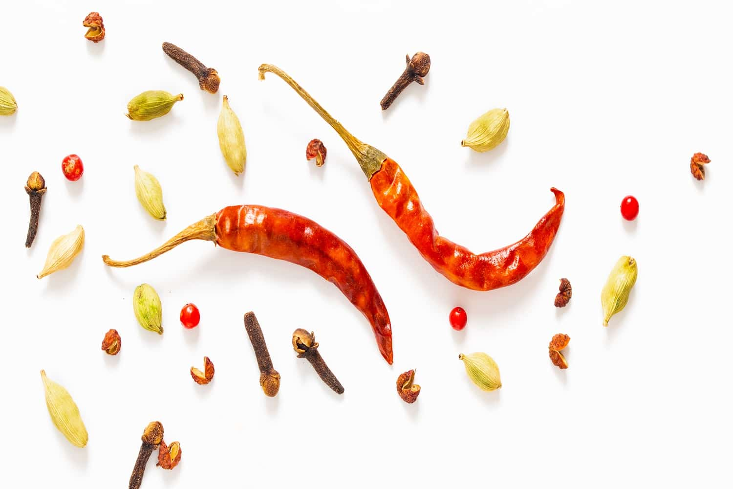 food spices presentation background red dried chilies various exotic spieces white background
