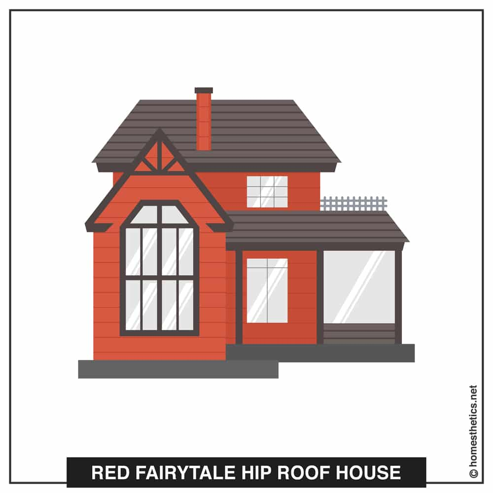 06 Red Fairytale Hip Roof House