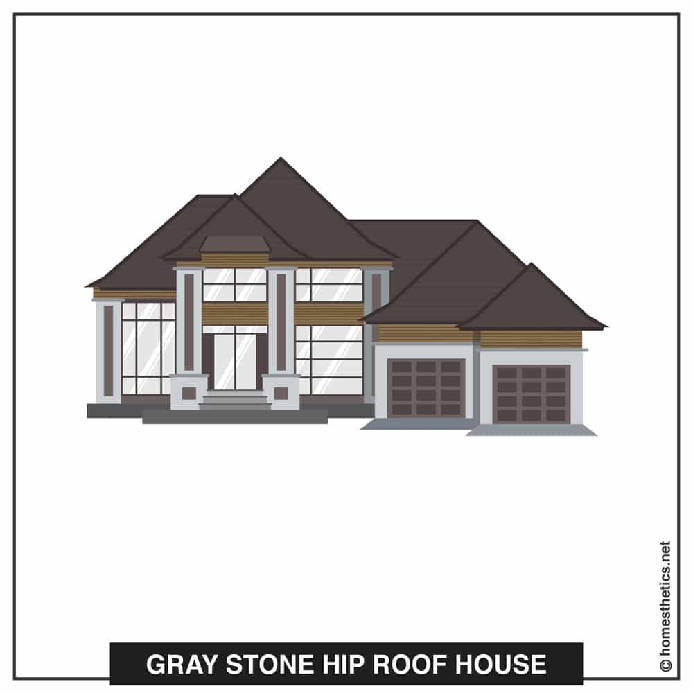 08 Gray Stone Hip Roof House