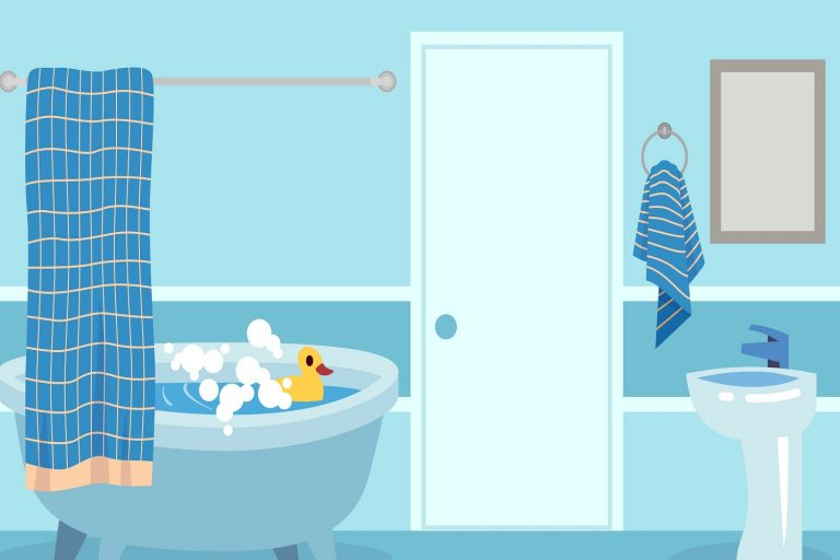 Cartoon bath. Cute white hot shower and bathtub with bubbles and toy in inside bathroom isolated vector illustration