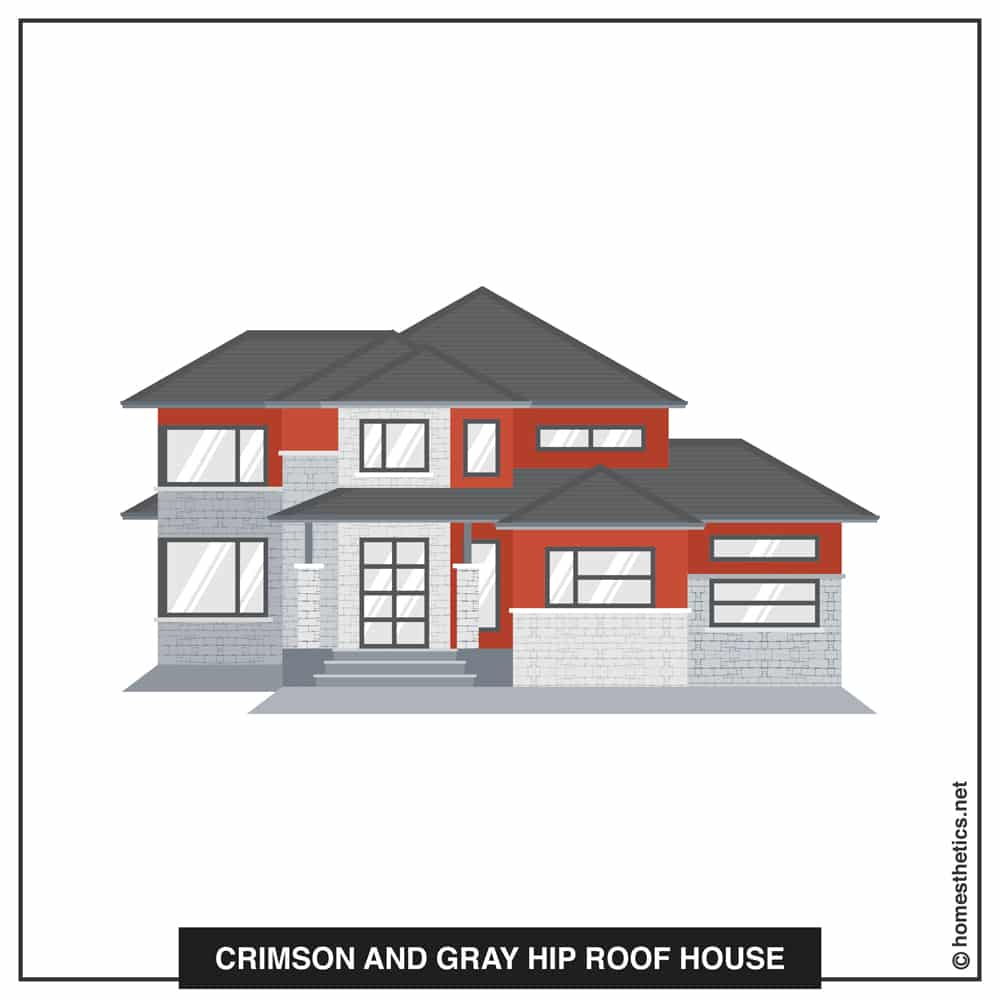 16 Crimson and Gray Hip Roof House
