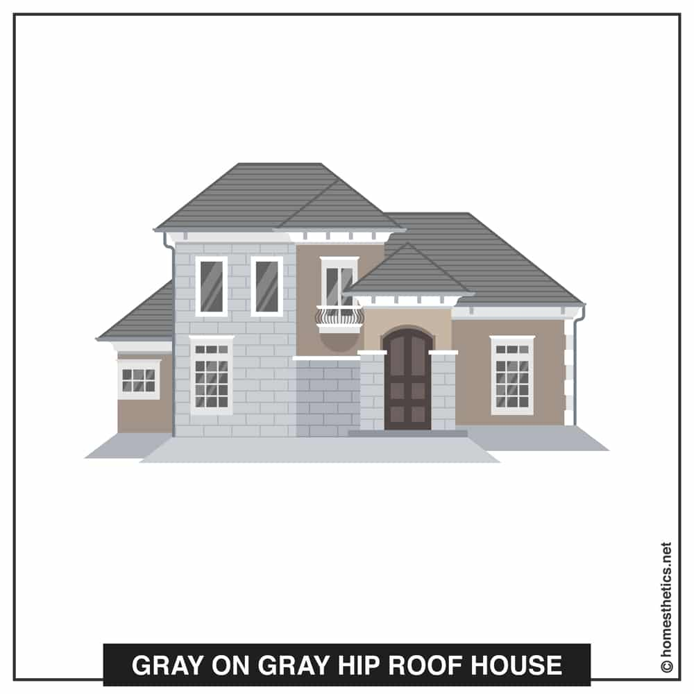 19 Gray on Gray Hip Roof House