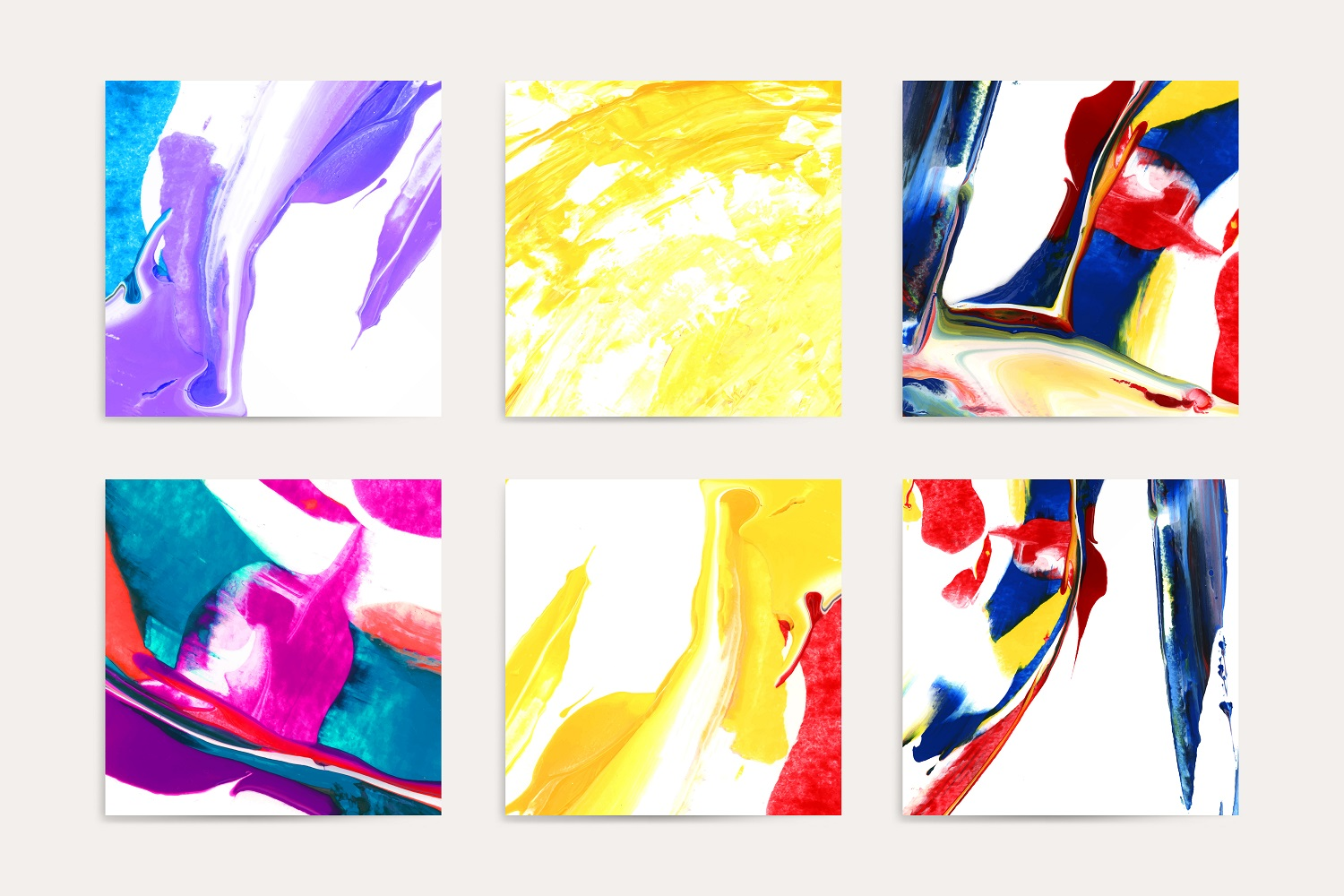 Colorful acrylic brush stroke textured background vector set
