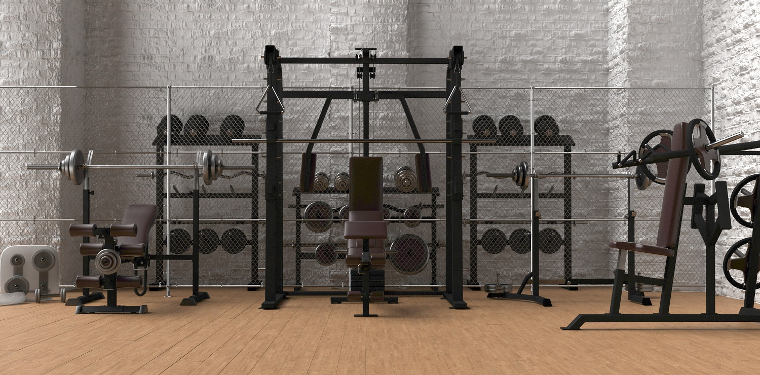 3d render of cast iron dumbbell weights