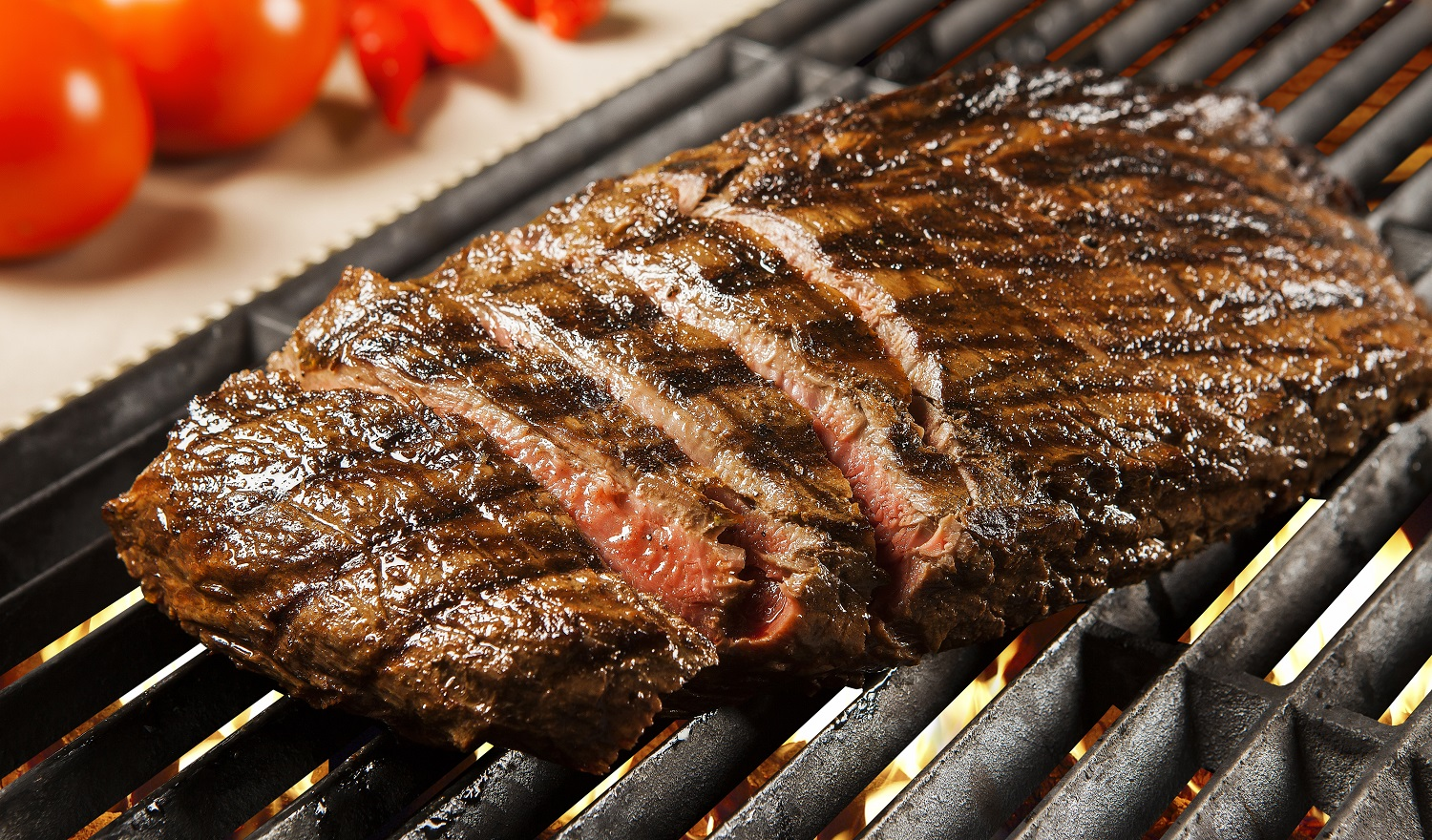 Delicious grilled meat over the coals on a barbecue. Filet.